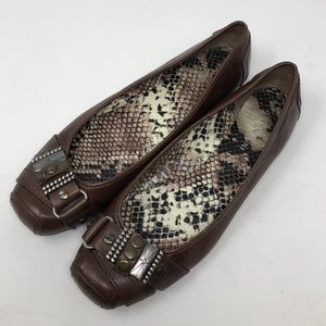 Gianni Bini Brown Leather Square Toe Ballet Flats
